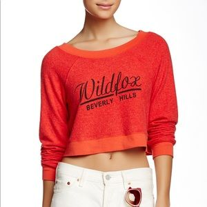 WILDFOX Beverly Chasse Ashbury Crop Sweater Red
